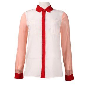 Red, Peach & White Color Block Button Up (W50558)